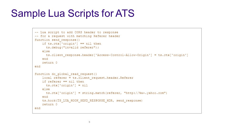Sample Lua Scripts for ATS