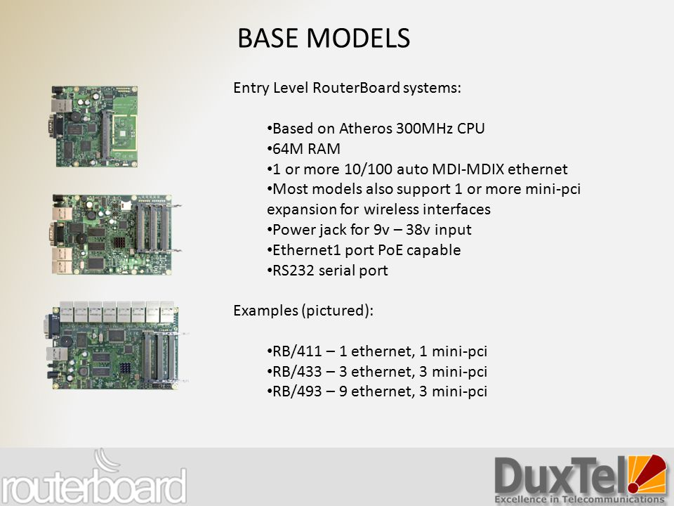 BASE MODELS Entry Level RouterBoard systems: