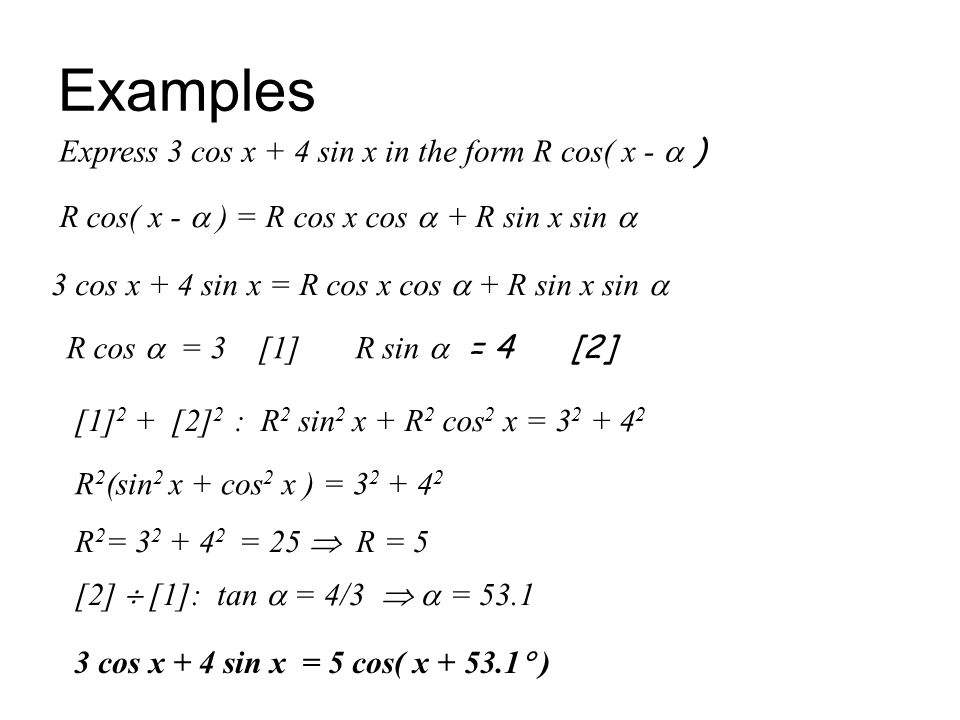 Examples Express 3 cos x + 4 sin x in the form R cos( x -  )