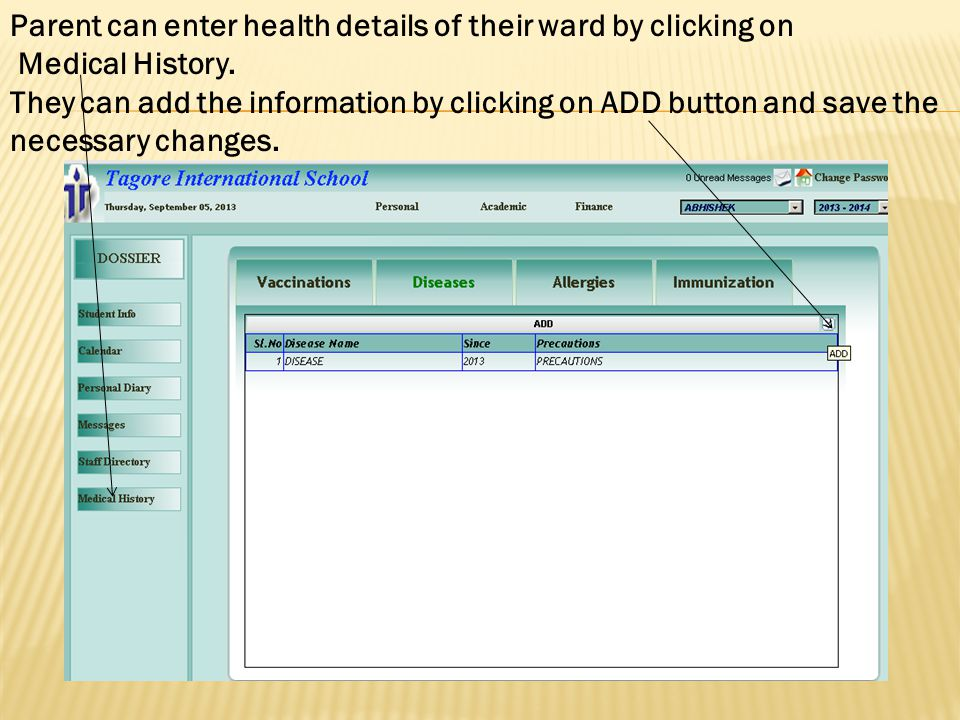 Parent can enter health details of their ward by clicking on