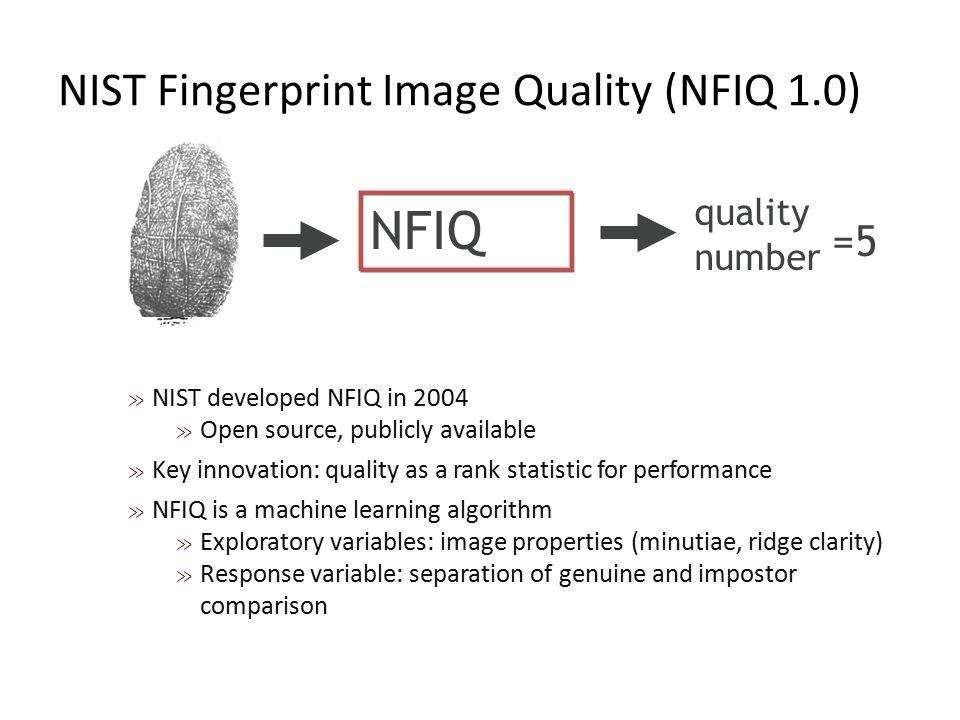 NIST Fingerprint Image Quality (NFIQ 1.0)