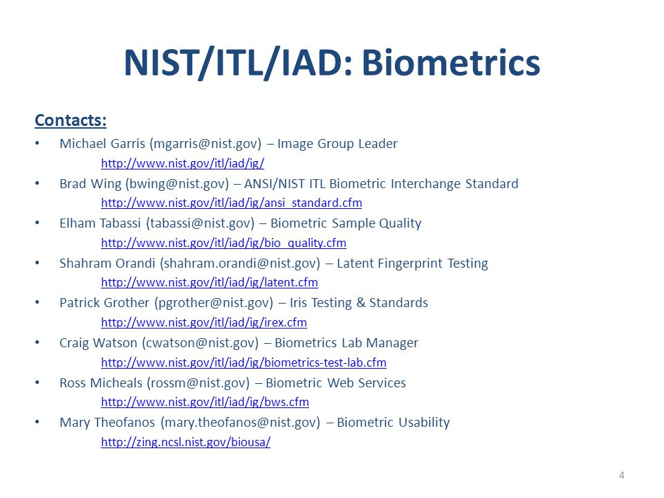 NIST/ITL/IAD: Biometrics