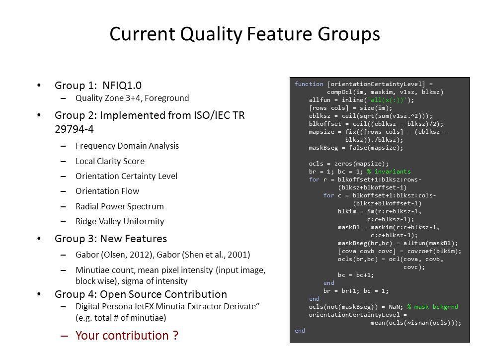 Current Quality Feature Groups