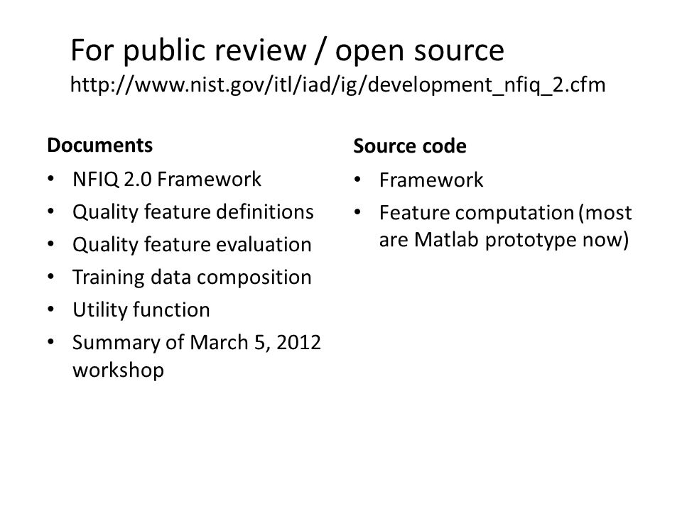 For public review / open source http://www. nist