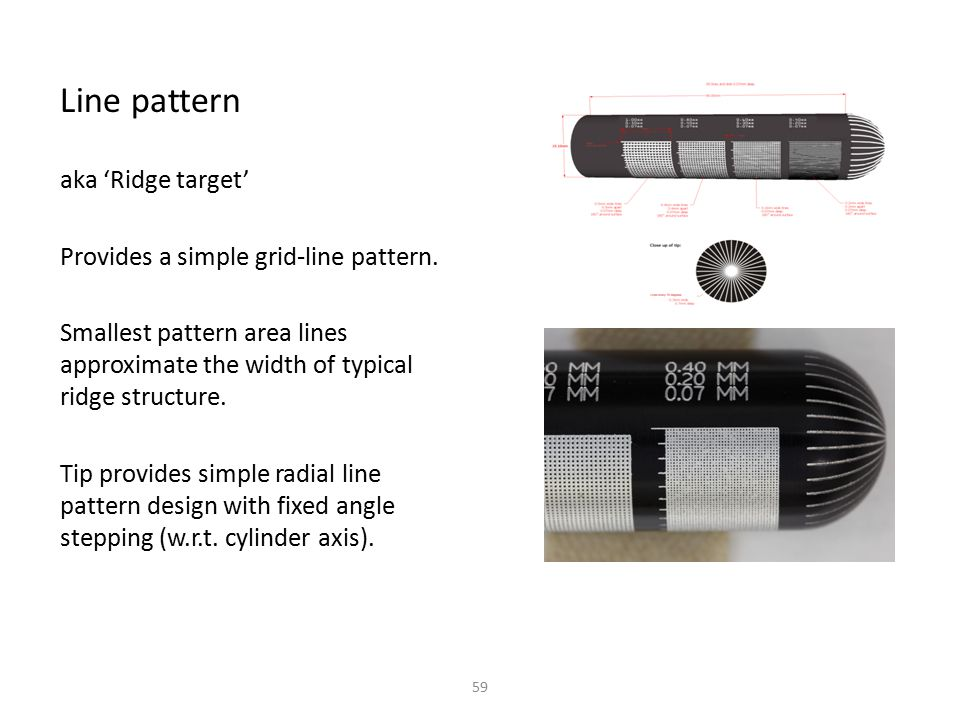 Line pattern aka 'Ridge target' Provides a simple grid-line pattern.