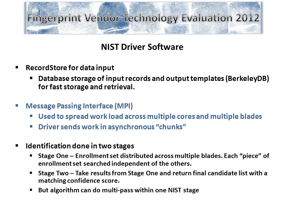 NIST Driver Software RecordStore for data input