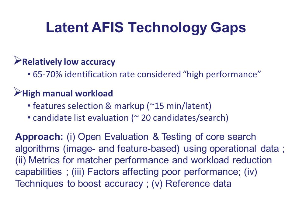 Latent AFIS Technology Gaps