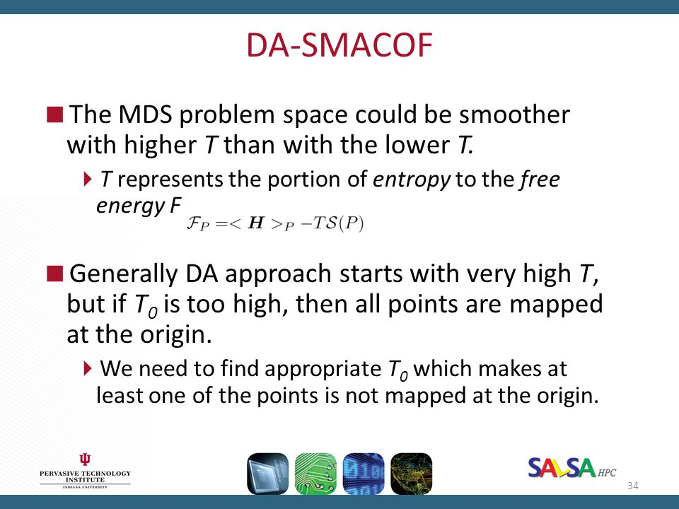 DA-SMACOF The MDS problem space could be smoother with higher T than with the lower T. T represents the portion of entropy to the free energy F.