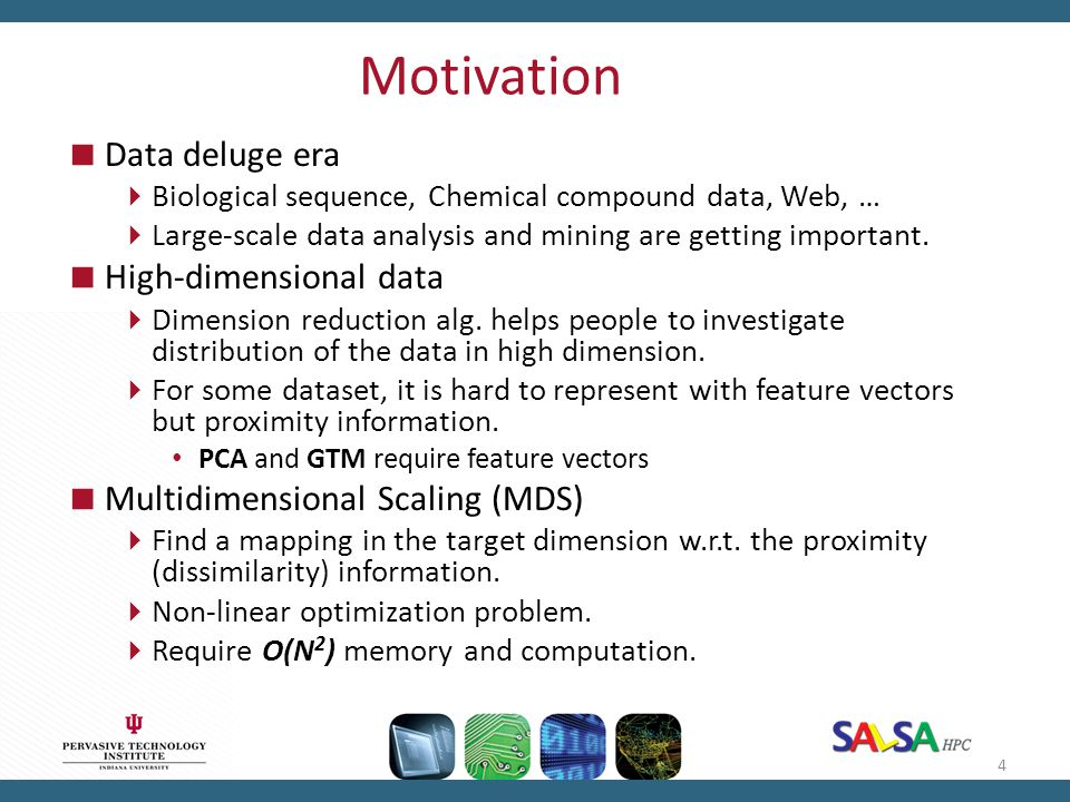 Motivation Data deluge era High-dimensional data
