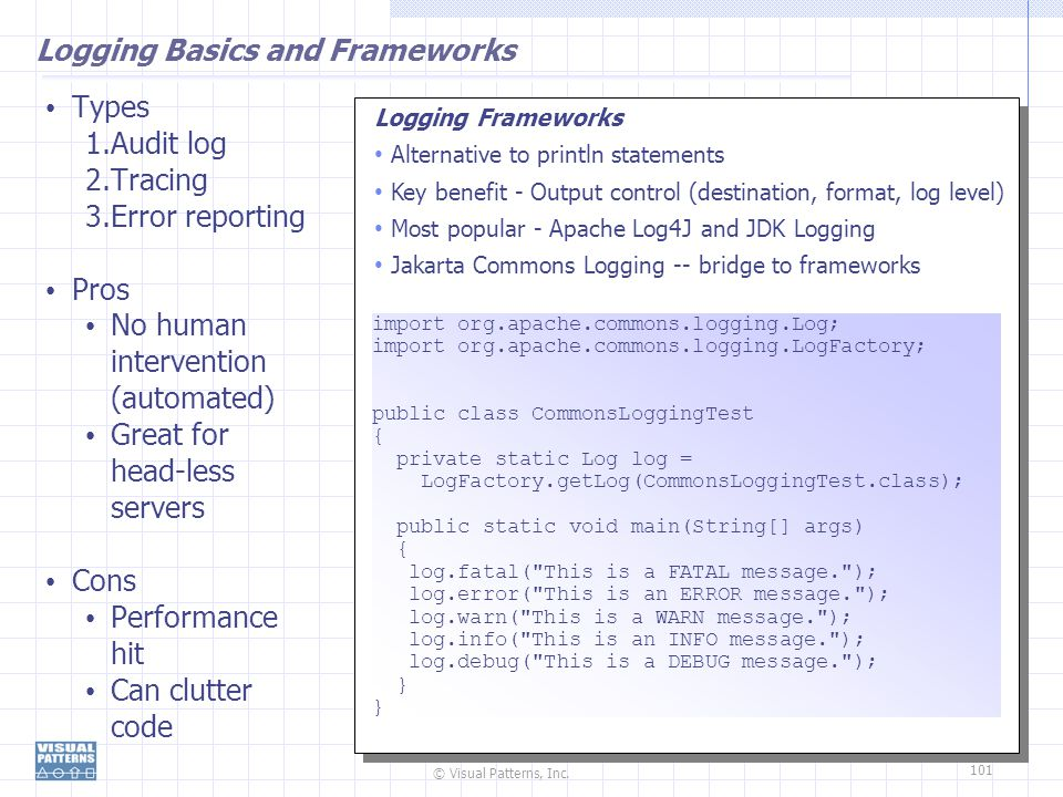 Logging Basics and Frameworks