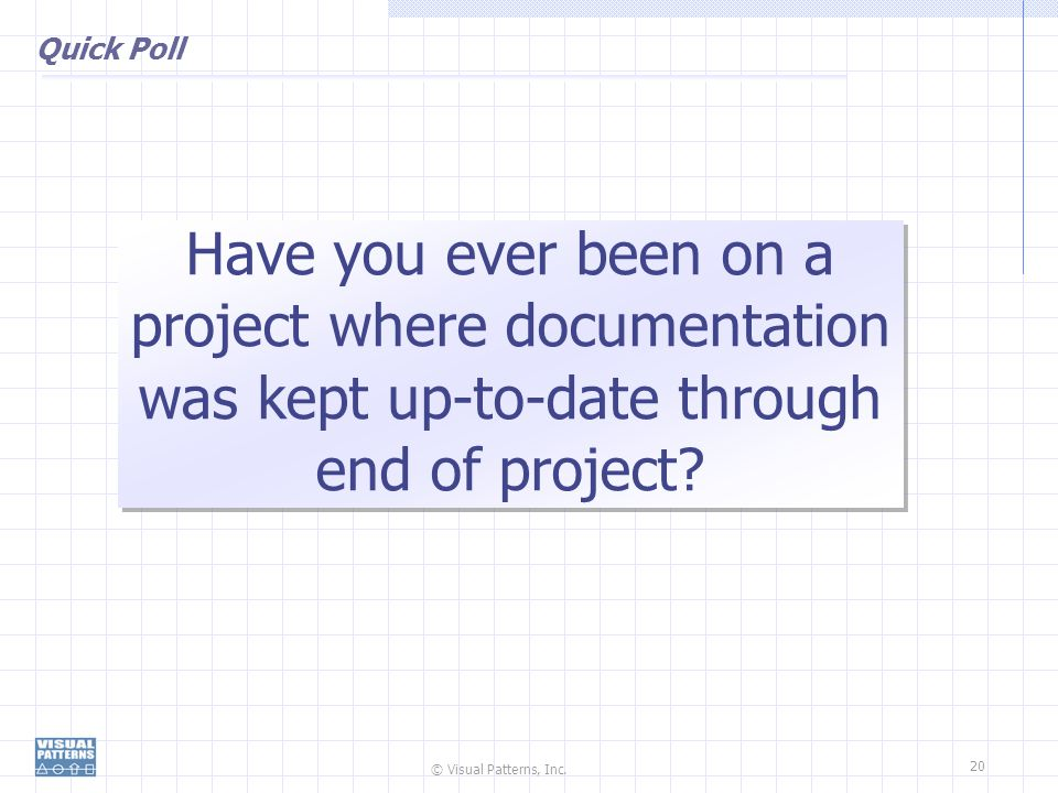 Quick Poll Have you ever been on a project where documentation was kept up-to-date through end of project