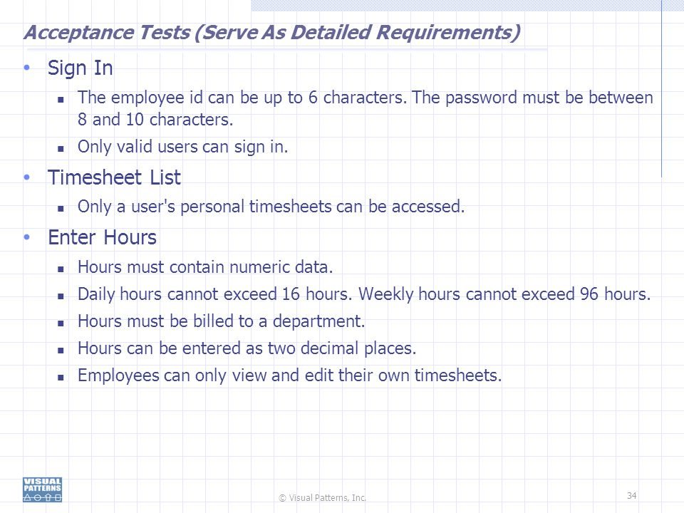 Acceptance Tests (Serve As Detailed Requirements)