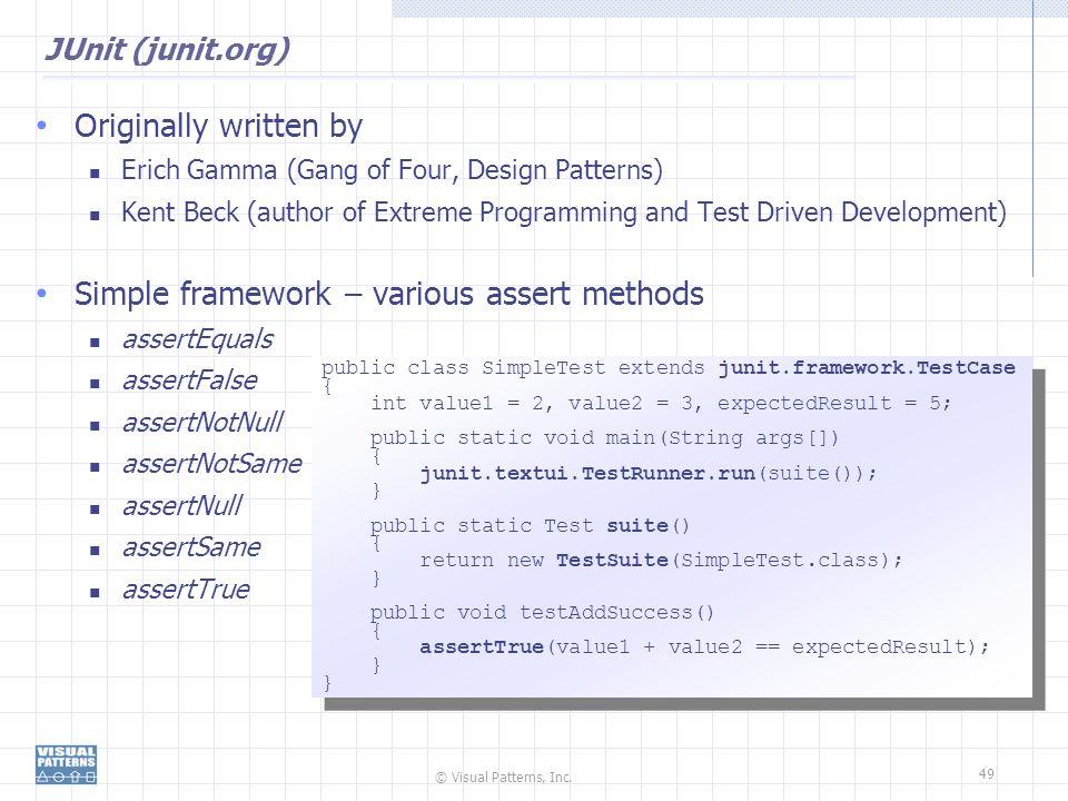 Simple framework – various assert methods