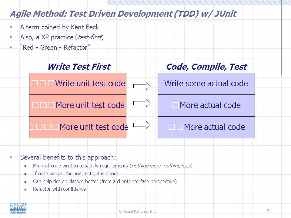Agile Method: Test Driven Development (TDD) w/ JUnit