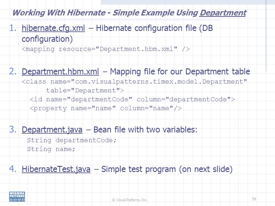 Working With Hibernate - Simple Example Using Department