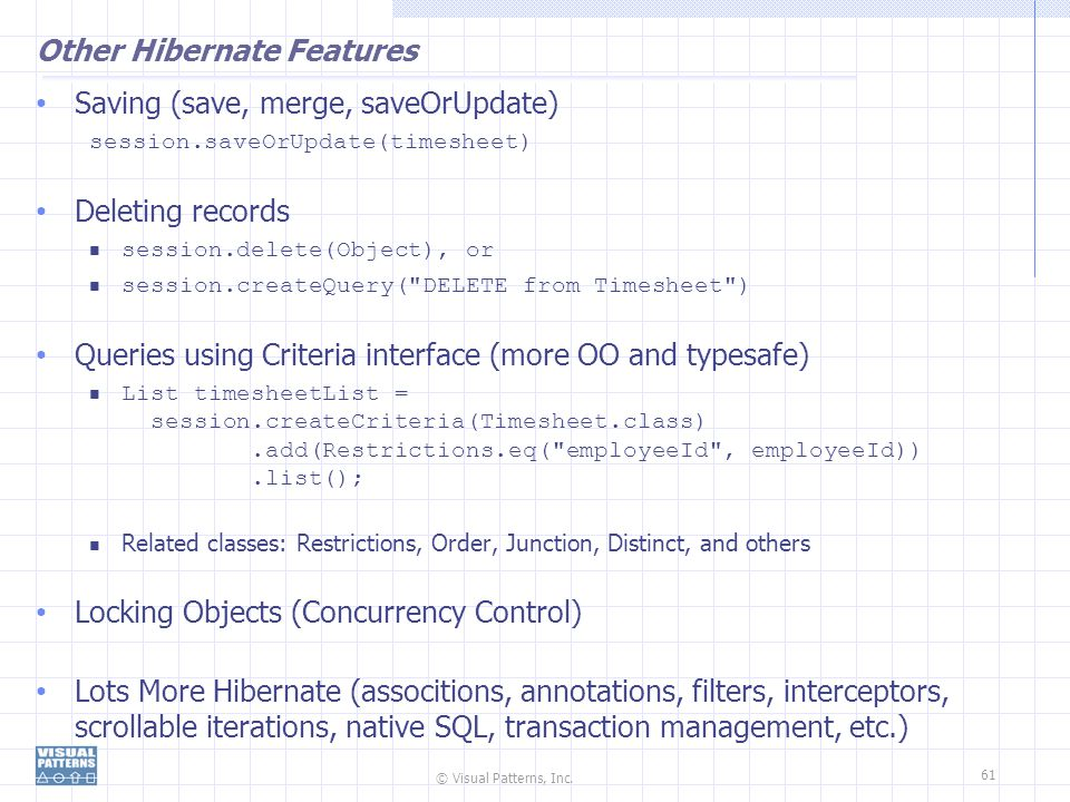 Other Hibernate Features