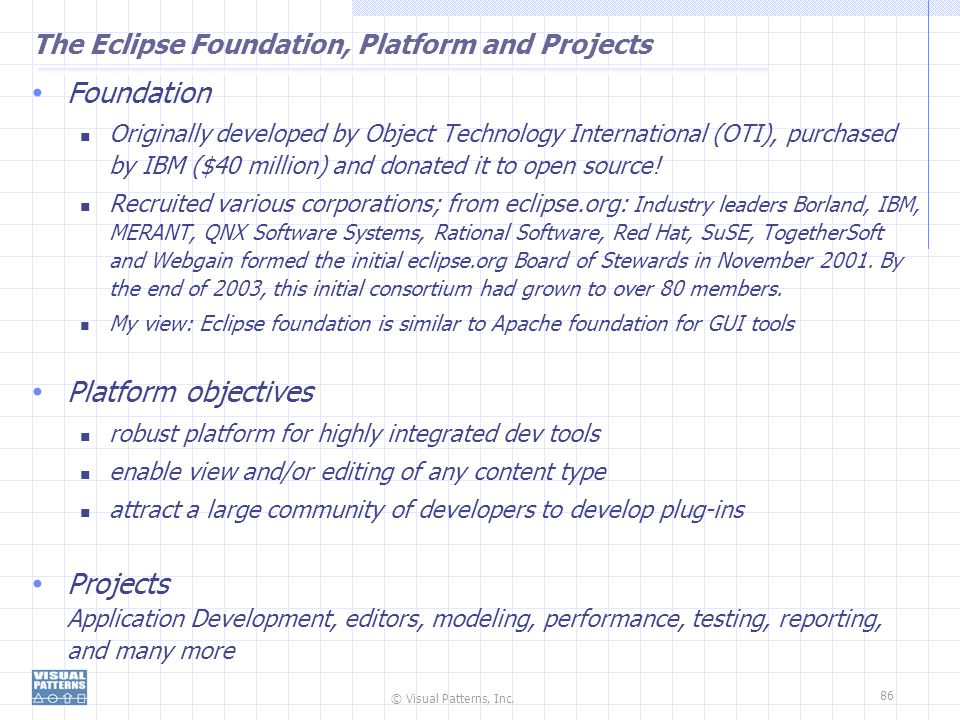 The Eclipse Foundation, Platform and Projects