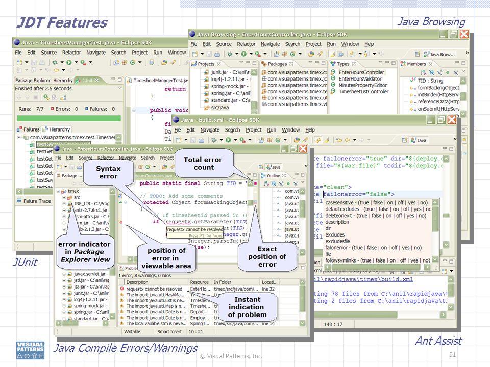 JDT Features Java Browsing JUnit Ant Assist