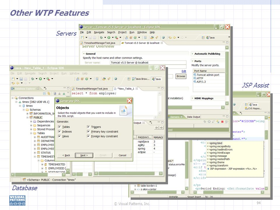 Other WTP Features Servers JSP Assist Database