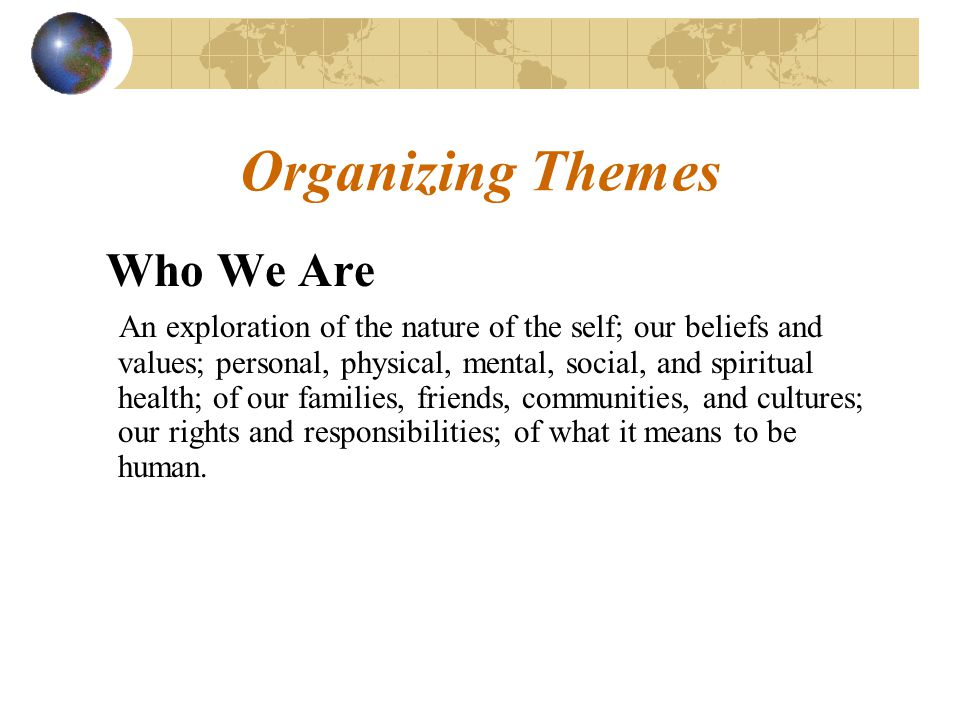 Organizing Themes Who We Are