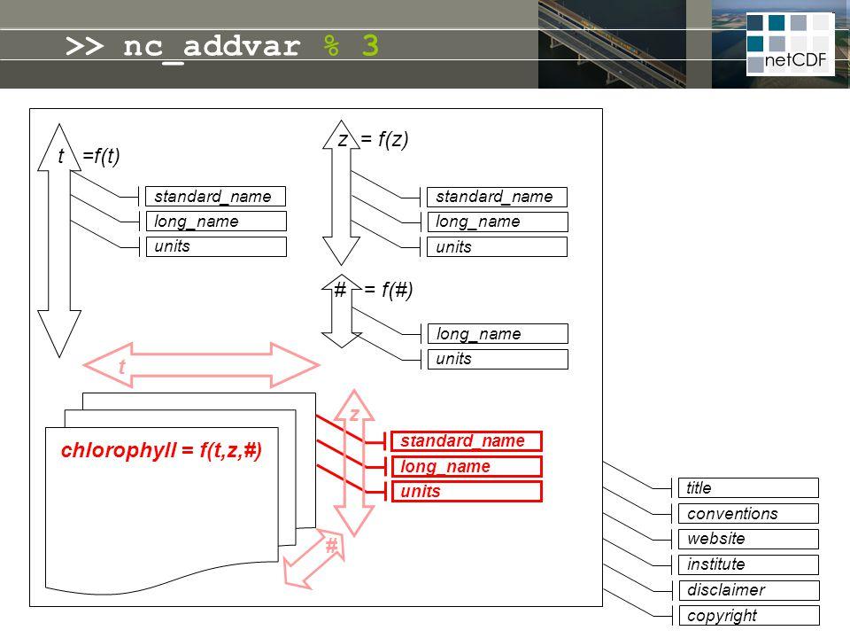 >> nc_addvar % 3 z = f(z) t =f(t) # = f(#) t z