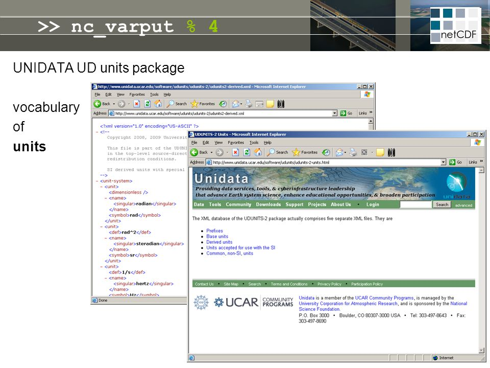 >> nc_varput % 4 UNIDATA UD units package vocabulary of units