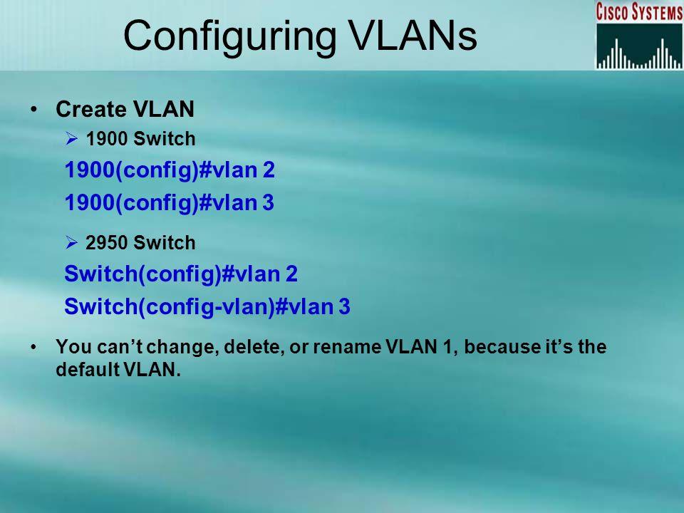 Configuring VLANs Create VLAN 1900(config)#vlan 2 1900(config)#vlan 3