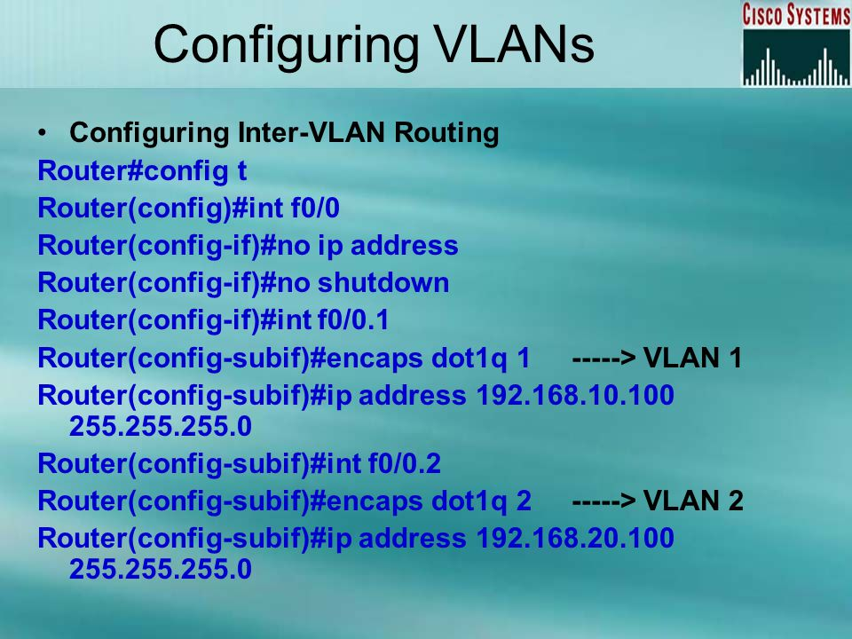 Configuring VLANs Configuring Inter-VLAN Routing Router#config t