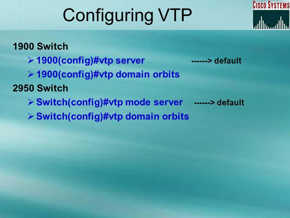 Configuring VTP 1900 Switch 1900(config)#vtp server ------> default