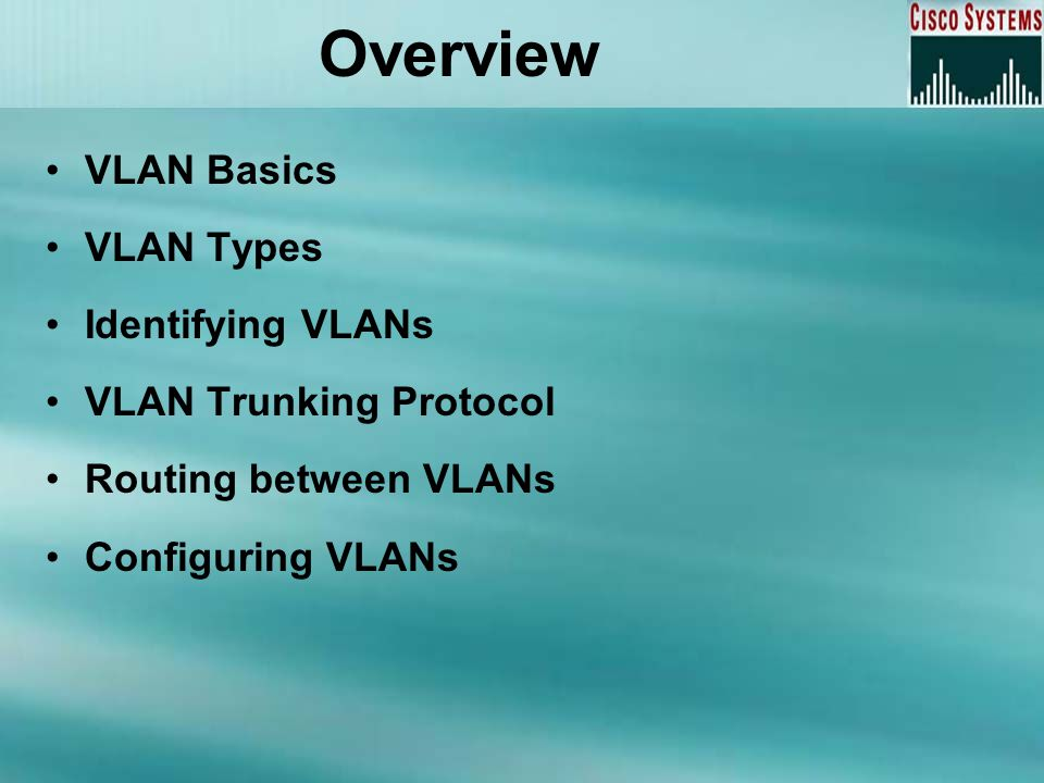 Overview VLAN Basics VLAN Types Identifying VLANs