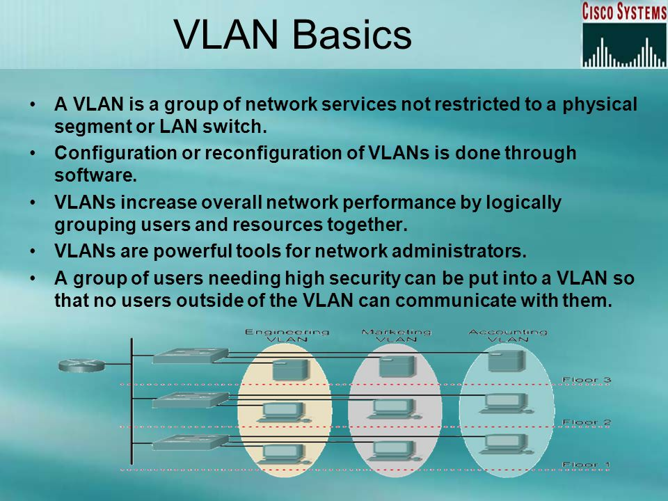 VLAN Basics A VLAN is a group of network services not restricted to a physical segment or LAN switch.