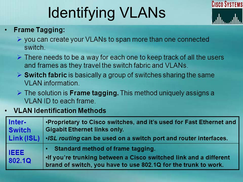 Identifying VLANs Frame Tagging: