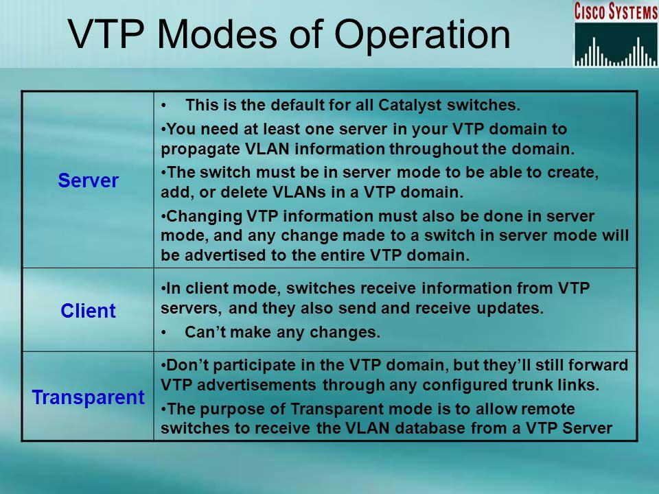 VTP Modes of Operation Server Client Transparent