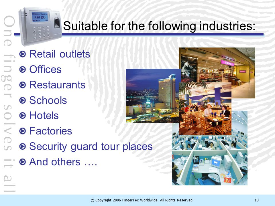 Suitable for the following industries: