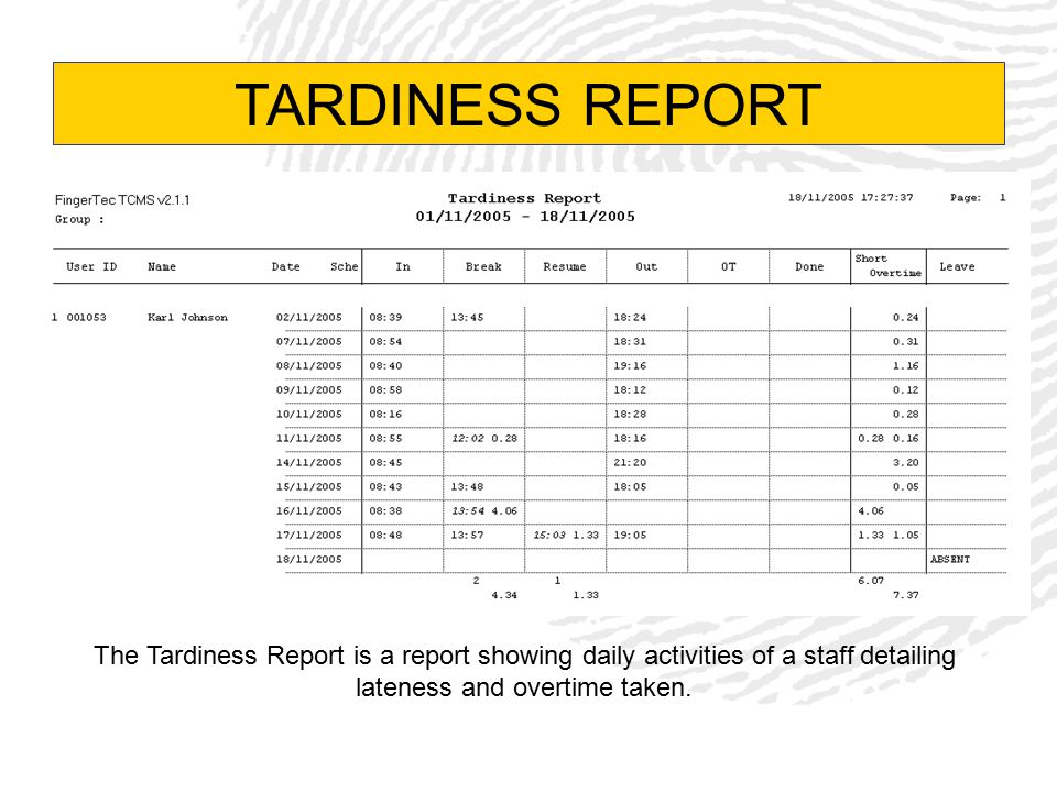 TARDINESS REPORT The Tardiness Report is a report showing daily activities of a staff detailing lateness and overtime taken.