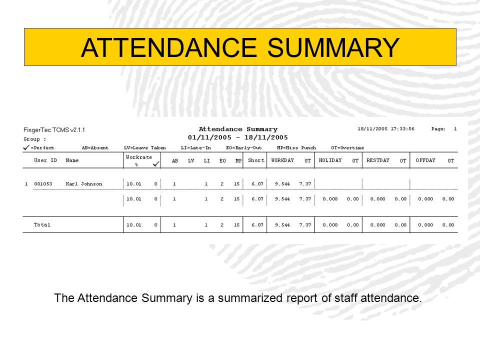 The Attendance Summary is a summarized report of staff attendance.