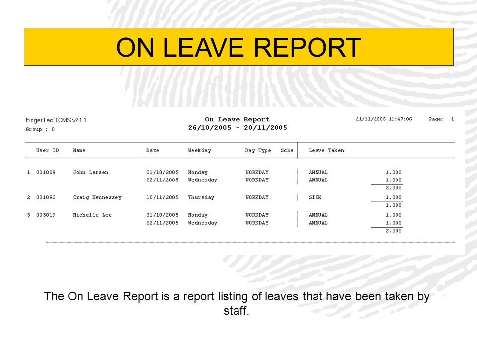 ON LEAVE REPORT The On Leave Report is a report listing of leaves that have been taken by staff.