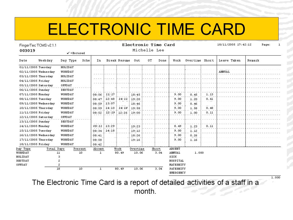 ELECTRONIC TIME CARD The Electronic Time Card is a report of detailed activities of a staff in a month.