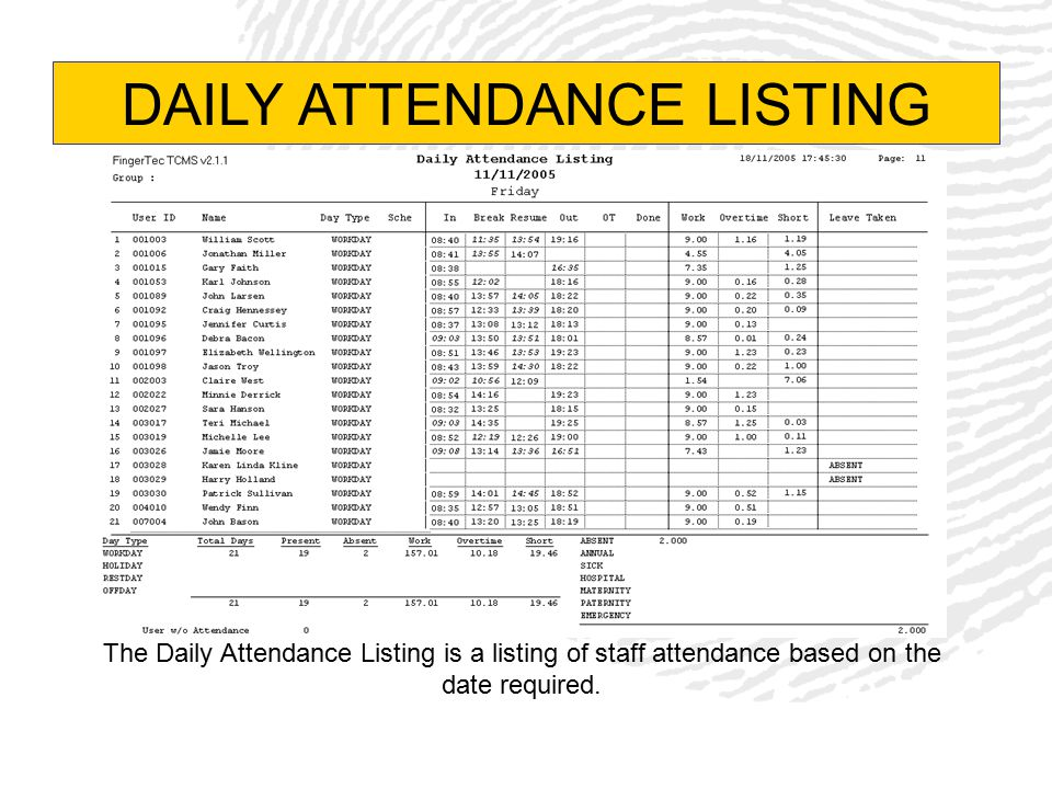 DAILY ATTENDANCE LISTING