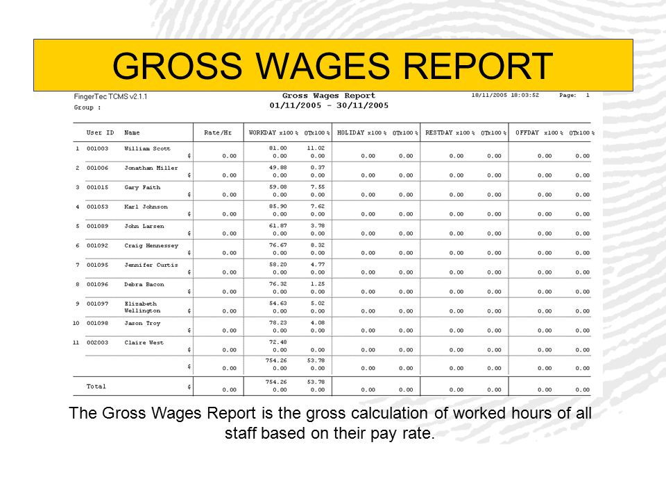 GROSS WAGES REPORT The Gross Wages Report is the gross calculation of worked hours of all staff based on their pay rate.