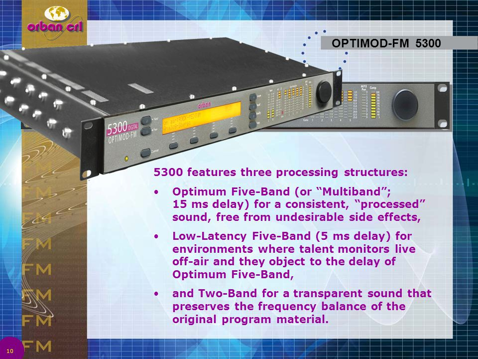 OPTIMOD-FM 5300 5300 features three processing structures:
