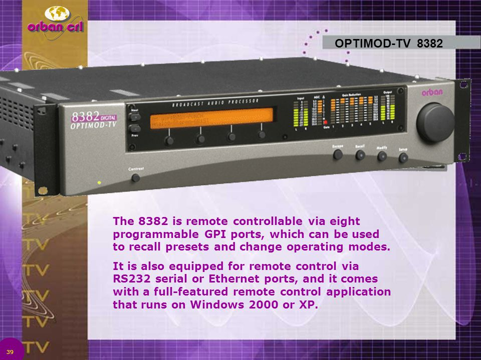 OPTIMOD-TV 8382 The 8382 is remote controllable via eight programmable GPI ports, which can be used to recall presets and change operating modes.