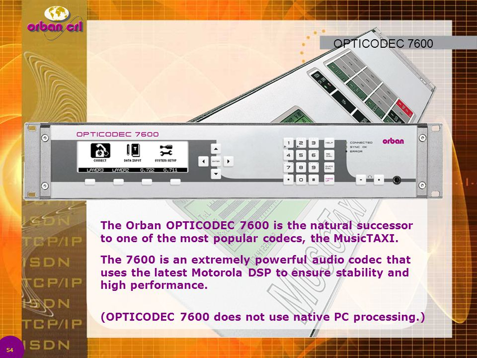 OPTICODEC 7600 The Orban OPTICODEC 7600 is the natural successor to one of the most popular codecs, the MusicTAXI.
