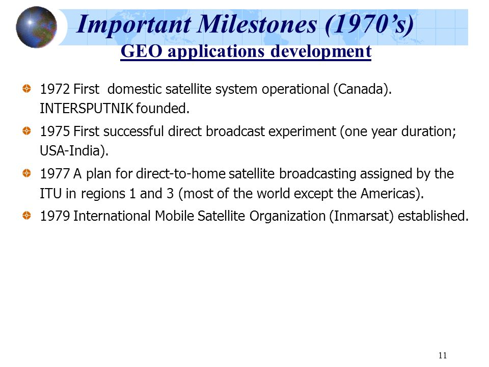 Important Milestones (1970's) GEO applications development