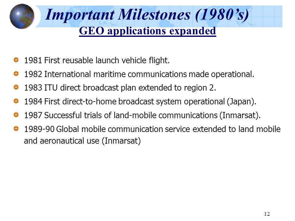 Important Milestones (1980's) GEO applications expanded