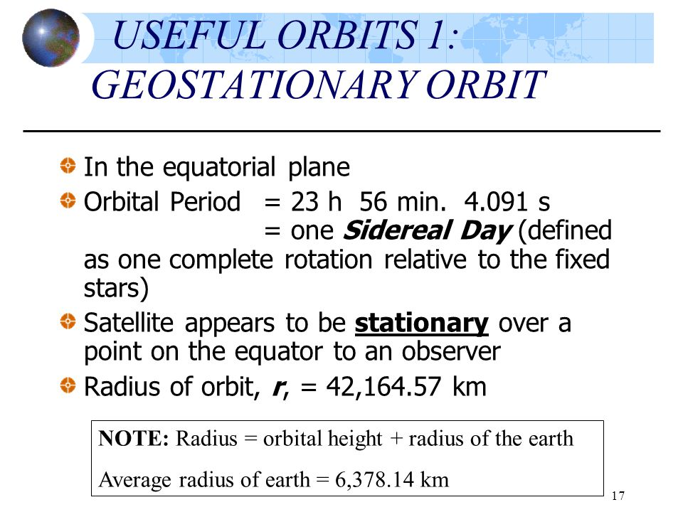 USEFUL ORBITS 1: GEOSTATIONARY ORBIT