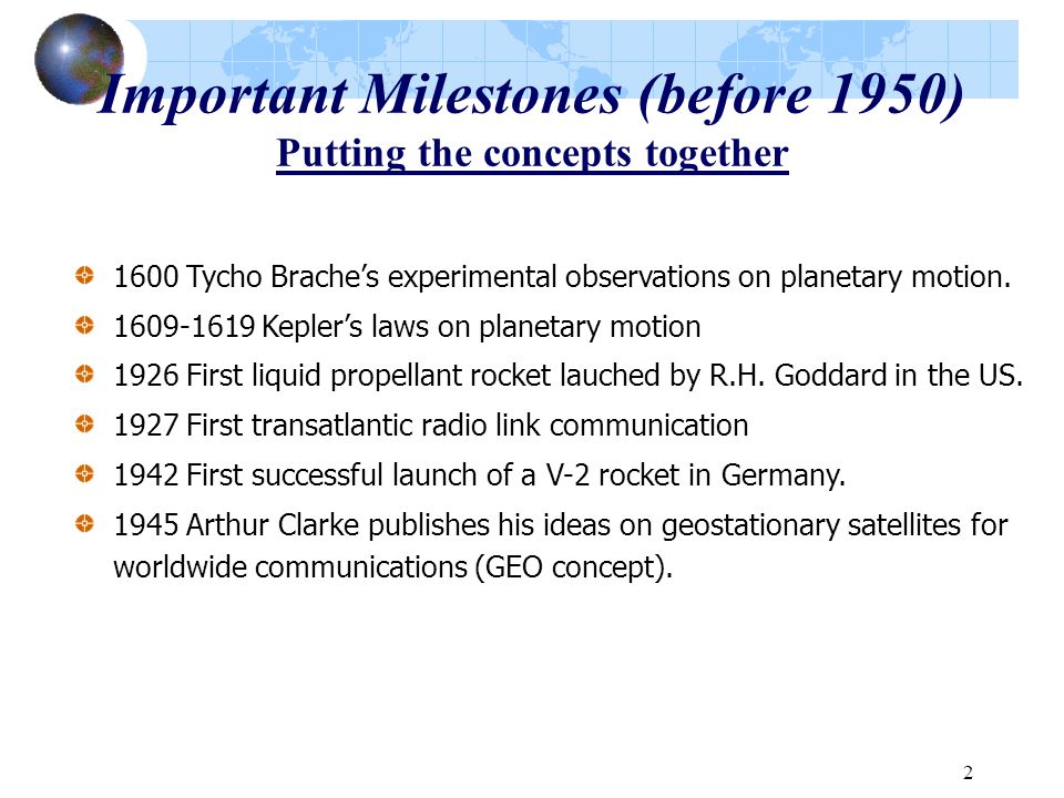 Important Milestones (before 1950) Putting the concepts together