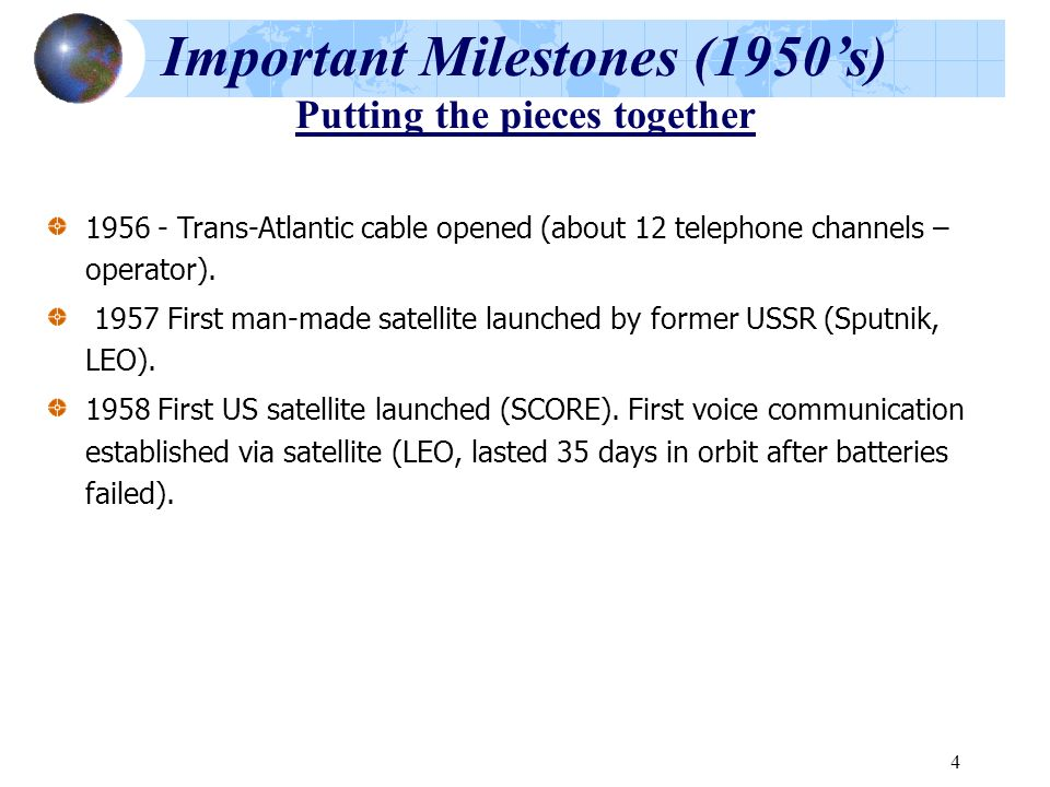 Important Milestones (1950's) Putting the pieces together
