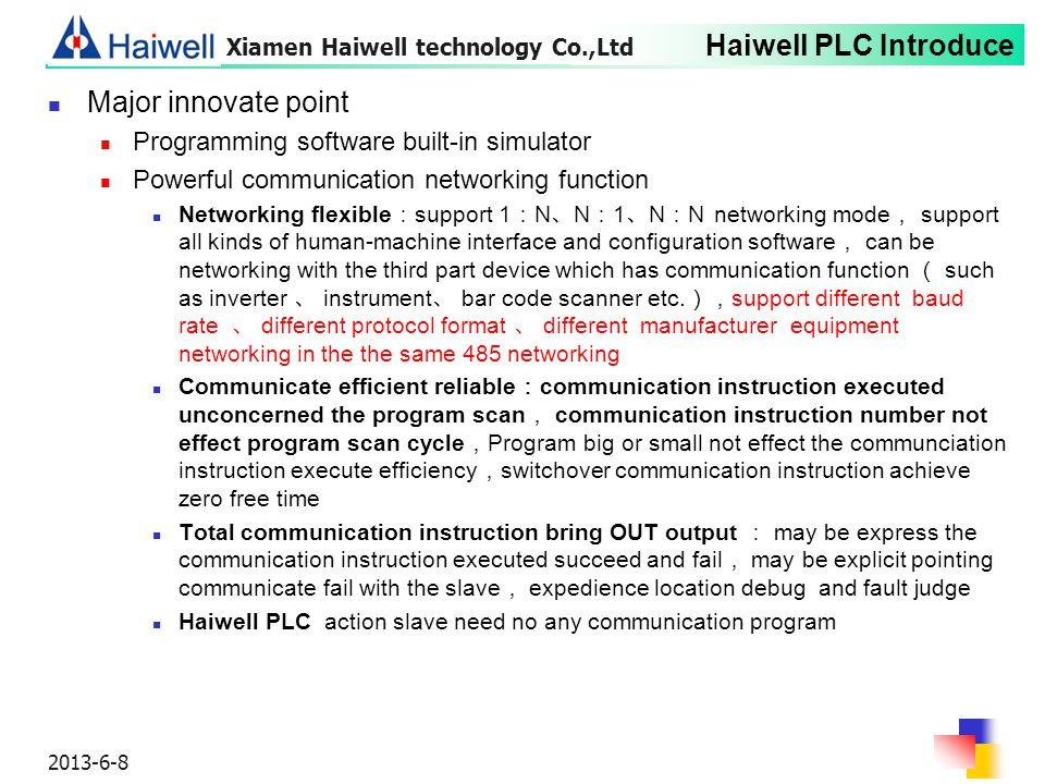 Major innovate point Programming software built-in simulator