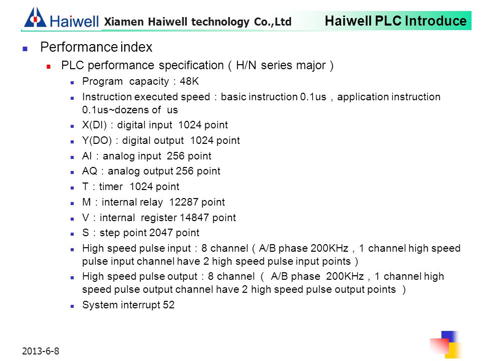 Performance index PLC performance specification(H/N series major)